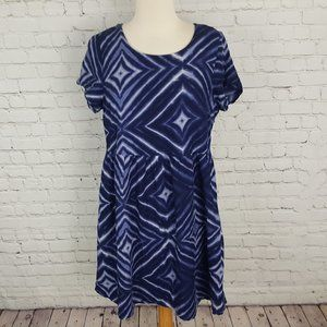 OLD NAVY Blue Purple Short Sleeve Dress M Lined